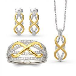"Jeulia ""Infinity Love"" Two Tone Sterling Silver Jewelry Set"
