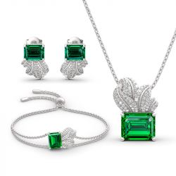 Jeulia Leaf Design Emerald Cut Sterling Silver Jewelry Set