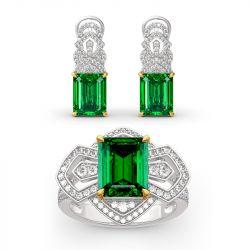 Jeulia Vintage Emerald Cut Sterling Silver Jewelry Set