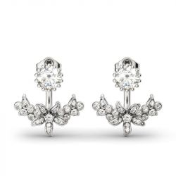 Jeulia Flower Round Cut Sterling Silver Jewelry Set