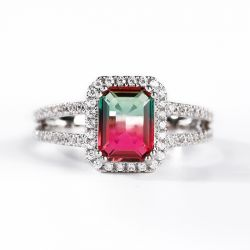 "Jeulia ""One of a Kind"" Emerald Cut Sterling Silver Watermelon Tourmaline Ring"