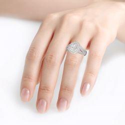 Jeulia Spiral Design Round Cut Sterling Silver Ring