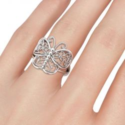 Jeulia Milgrain Butterfly Shape Sterling Silver Ring