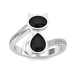 Jeulia Cat Design Oval and Pear Cut Sterling Silver Ring