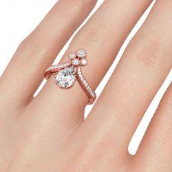 Jeulia Milgrain Pear Cut Sterling Silver Ring