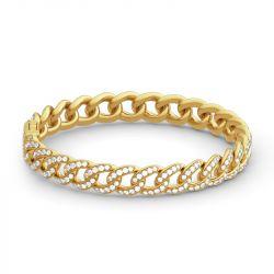 Jeulia Chain Design Round Cut Sterling Silver Bracelet