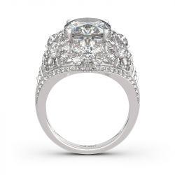 Jeulia Flower Cushion Cut Sterling Silver Ring