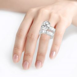 Cushion Cut Three Sided Pave Sterling Silver Eternity Ring Set