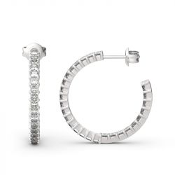 Jeulia Inside-Out Design Princess Cut Sterling Silver Hoop Earrings