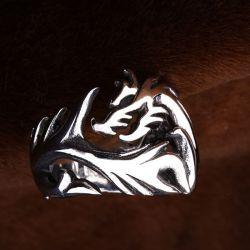 Jeulia Vintage Dragon Titanium Steel Men's Ring