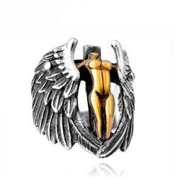 Jeulia Vintage Wings Angel Cross Titanium Steel Men's Ring