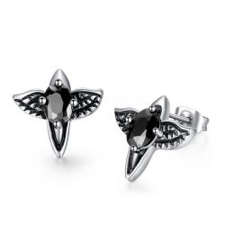 Jeulia Punk Style Eagle Titanium Steel Men's Earrings