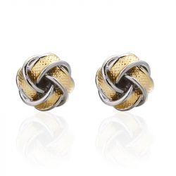 Jeulia Two Tone Twist Design Men's Cufflinks