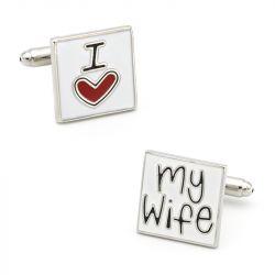 """Jeulia """"I Love My Wife"""" Copper Men's Cufflinks"""