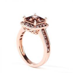 Jeulia Halo Princess Cut Sterling Silver Ring