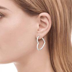Jeulia Classic Heart Design Sterling Silver Hoop Earrings