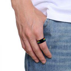 Jeulia Rainbow Stainless Steel Men's Ring