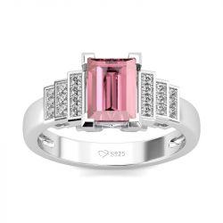 Jeulia Classic Emerald Cut Sterling Silver Ring