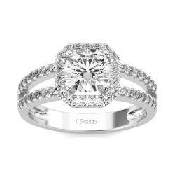Jeulia Split Shank Halo Round Cut Sterling Silver Ring