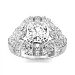 Jeulia Milgrain Cushion Cut Sterling Silver Ring