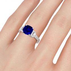 Jeulia Side Stone Cushion Cut Sterling Silver Ring