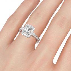 Jeulia Halo Emerald Cut Sterling Silver Ring