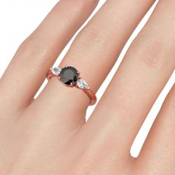 Jeulia Three Stone Round Cut Sterling Silver Ring