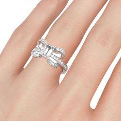 Jeulia Unique Design Emerald Cut Sterling Silver Ring