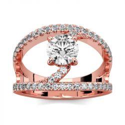 Jeulia Unique Design Round Cut Sterling Silver Ring