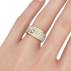 Gold Tone Round Cut Sterling Silver Women's Band