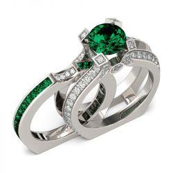 Jeulia Interchangeable Round Cut Created Emerald Ring Set