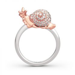 "Jeulia ""Dream Garden"" Snail Design Sterling Silver Ring"