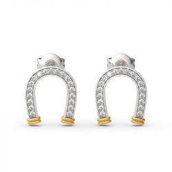 "Jeulia ""Lucky Horseshoe"" Two Tone Sterling Silver Earrings"
