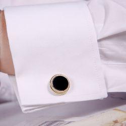 Jeulia Simple Milgrain Design Copper Men's Cufflinks