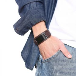 Jeulia Adjustable Stainless Steel Men's Leather Bracelet