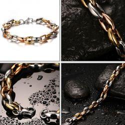 Jeulia Alternating Tri-color Men's Titanium Steel Bracelet