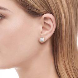 Jeulia Classic Princess Cut Sterling Silver Stud Earrings