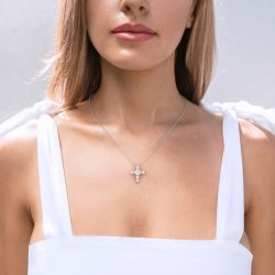 Jeulia Classic Cross Design Heart Cut Sterling Silver Necklace