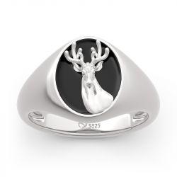 """Jeulia """"Elk Forest"""" Sterling Silver Signet Ring"""