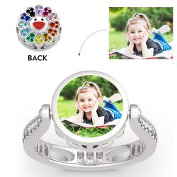 """Jeulia """"Childish Power"""" Sunflower Sterling Silver Personalized Photo Ring (With A Free Chain)"""