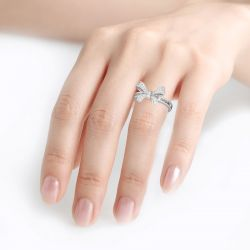 Jeulia Bowknot Design Round and Emerald Cut Sterling Silver Ring