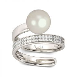 Contemporary Design Created Pearl Sterling Silver Ring