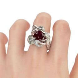 Red Cushion Cut Sterling Silver Mermaid Ring