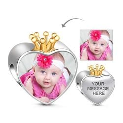 Golden Crown Heart Engravable Charm Sterling Silver