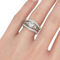 Milgrain Scrollwork Round Cut Sterling Silver Ring Set