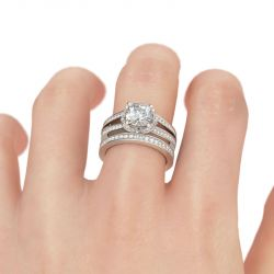 Split Shank Cushion Cut Sterling Silver Ring Set