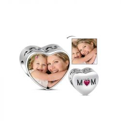 Mom Photo Charm Sterling Silver