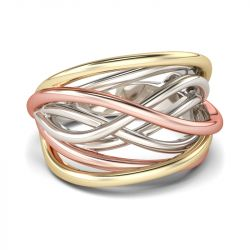 Tri-Tone Intertwined Sterling Silver Ring