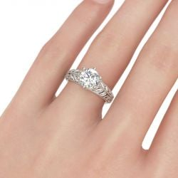 Milgrain Leaf Round Cut Sterling Silver Ring