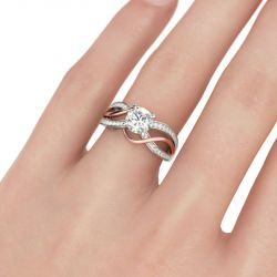 Two Tone Intertwined Round Cut Sterling Silver Ring